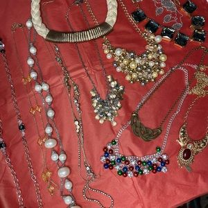 Lot of 12 long necklace and statement necklace